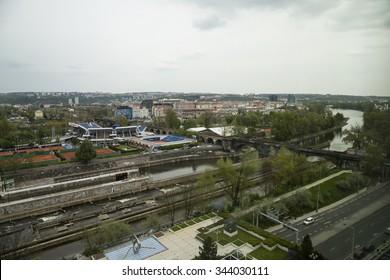 PRAGUE, 30 April 2015: Tennis courts Stvanice in Prague. Czech Republic