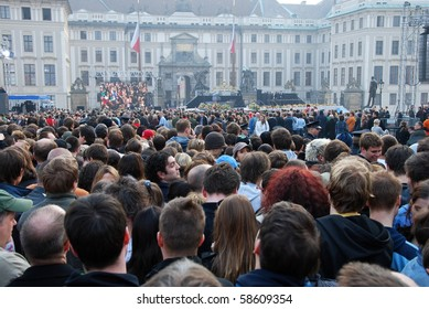 PRAGUE - 4TH APRIL: Crowd of people waiting for the speech of american president Barack Obama in Prague on Prague Castle on April 4, 2009 at Prague Castle, Prague, Czech Republic.