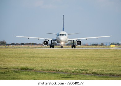 PRAGUE AIRPORT -September 20, 2017: SkyTeam - Airbus A320 take-off at Prague Airport Vaclav Havel, Czech Republic