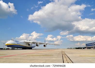 PRAGUE AIRPORT Vaclav Havel, Czech Republic - May 10, 2016: Antonov Design Bureau An-225 Mriya is parking on sunny day,