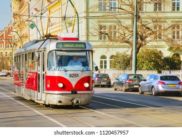 PRAGUE - APRIL 10:  Old fashioned tram on April 10, 2018 in Prague, Czech Republic.