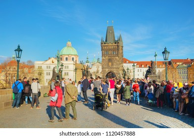 PRAGUE - APRIL 10: The Old Town with Charles bridge on April 10, 2018 in Prague, Czech Republic. It's a famous historic bridge that crosses the Vltava river in Prague.