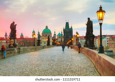 PRAGUE, APRIL 11: Charles bridge at sunrise on April 11, 2018 in Prague, Czechia