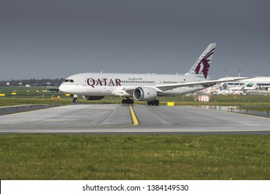 PRAGUE - APRIL 19, 2019: Boeing 787-8 Dreamliner of Qatar Airways take off from PRG Airport in Prague on APRIL 19, 2019, Czech republic. Qatar Airways, is the state-owned flag carrier of Qatar.