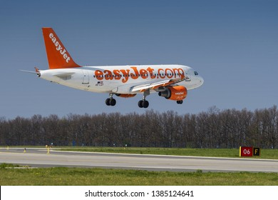 PRAGUE - APRIL 19, 2019: EasyJet  Airbus A319 landing at Vaclav Havel airport Prague (PRG) APRIL 19, 2019 in Prague, Czech Republic.EasyJet is a British low-cost airline carrier.