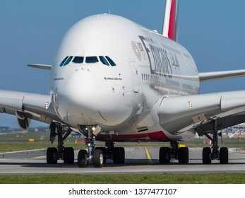 PRAGUE - APRIL 19, 2019: Emirates Airbus A380  at Vaclav Havel Airport Prague (PRG), APRIL 19, 2019 in Prague, Czech Republic. The A380 is currently the largest passenger airliner.