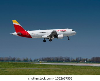 PRAGUE - APRIL 19, 2019: Iberia Airlines  Airbus A320 landing at Vaclav Havel airport Prague (PRG) APRIL 19, 2019 in Prague, Czech Republic. Iberia Airlines is the flag carrier airline of Spain.