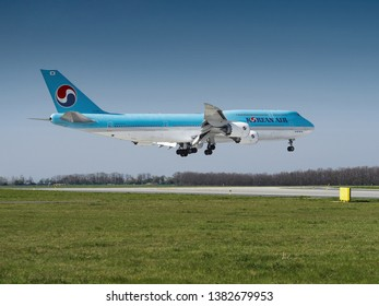 PRAGUE - APRIL 19, 2019: Korean air Boeing 747-8i  at Vaclav Havel Airport Prague (PRG), APRIL 19, 2019 in Prague, Czech Republic. Korean air is the flag carrier airline of South Korea