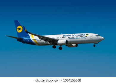 PRAGUE - APRIL 19,2019:Ukraine International Airlines Boeing 737 at Vaclav Havel airport Prague,APRIL 19, 2019 in Prague, Czech Republic. Ukraine International Airlines is the flag carrier of Ukraine.