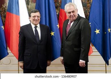 PRAGUE - APRIL 2: President of the European Commission Jose Manuel Barroso (left) and Czech president Milos Zeman (right) in Prague, Czech republic, April 2, 2013
