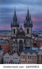 PRAGUE - APRIL 2016: Church of Our Lady before Tyn at Old Town square in Prague, Czech Republic