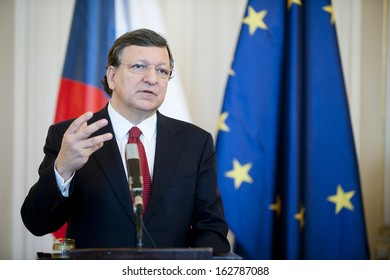 PRAGUE - APRIL 3: President of the European Commission Jose Manuel Barroso during press conference in Prague, Czech republic, April 3, 2013.
