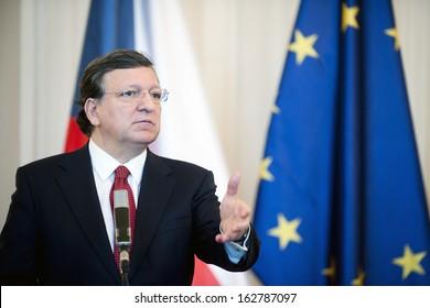 PRAGUE - APRIL 3: President of the European Commission Jose Manuel Barroso during press conference in Prague, Czech republic, April 3, 2013.
