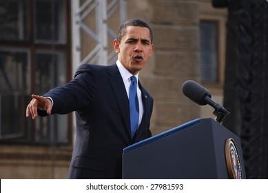 PRAGUE - APRIL 4: US President Barack Obama delivers a speech about a nuclear-free near Prague Castle April 4, 2009 in Prague, Czech Republic.