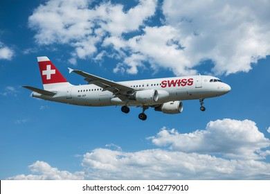 PRAGUE – APRIL 6, 2016: Swiss Air AIRBUS A319 landing at Vaclav Havel Airport Prague (PRG) April 6, 2016 in Prague, Czech Republic.Swiss is the national airline of Switzerland.