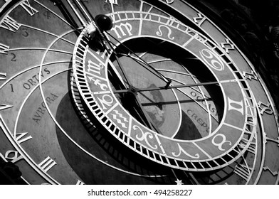 Prague Astronomical Clock, was built in 1410. Black and White - Shutterstock ID 494258227