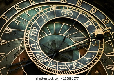 Prague astronomical clock. Astronomical clock in dark colors.