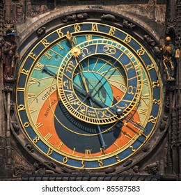 Prague astronomical clock, famous Prague landmark in the center square of Czech Republic capital city.