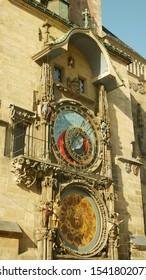Prague Astronomical Clock medieval gothic, statues various Catholic saints, astronomical cycles, Old Town Square, Staromestske namesti historic architecture UNESCO