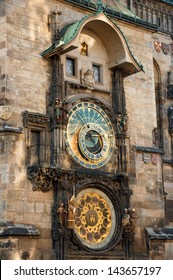 Prague Astronomical Clock, medieval astronomical clock, on the southern wall of Old Town City Hall in the Old Town Square, Prague, Czech Republic.