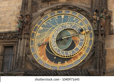 The Prague astronomical clock at the Old Town Hall, Old Town Square, Prague, Czech Republic