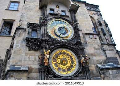 Prague Astronomical Clock or Prague Orloj, a medieval astronomical clock attached to the Old Town Hall in Prague, Czech Republic