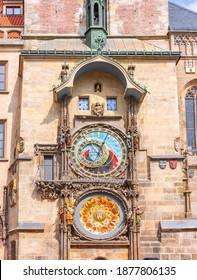 Prague astronomical clock (Orloj) on City Hall tower in Czech Republic