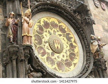Prague Astronomical Clock, Prague's Orloj (Prazsky orloj, Staromestsky orloj). Medieval astronomical clock, located on the southern wall of the Old Town Hall (Staromestska radnice) in Prague, Czech