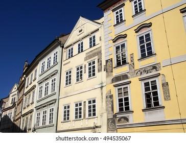 PRAGUE - AUG 31, 2016 - Baroque building fronts facing Stare Mesto, Old Town of  Prague, Czech Republic