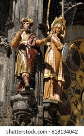 PRAGUE - AUG 31, 2016 - Figures on  astronomical clock, Stare Mesto, Old Town of  Prague, Czech Republic