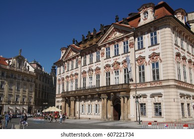PRAGUE - AUG 31, 2016 - Goltz-Kinsky Palace, medieval  building in Stare Mesto, Old Town of  Prague, Czech Republic