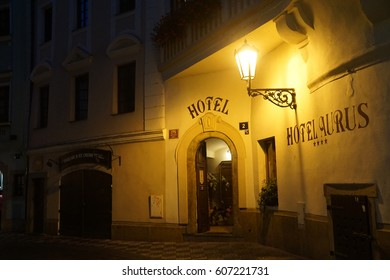 PRAGUE - AUG 31, 2016 - Small hotel open for the evening near Stare Mesto, Old Town of  Prague, Czech Republic
