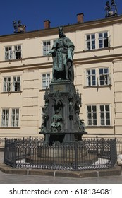 PRAGUE - AUG 31, 2016 - Statue of King Charles IV,  near Vltava River in  Prague, Czech Republic