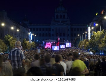 PRAGUE - AUGUST 21, 2018: Assembly of people and concert on Wenceslas Square in context of 50th anniversary of the Warsaw Pact invasion of Czechoslovakia