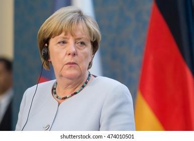 PRAGUE - AUGUST 25: German Chancellor Angela Merkel during her visit in Prague, Czech republic, August 25, 2016.