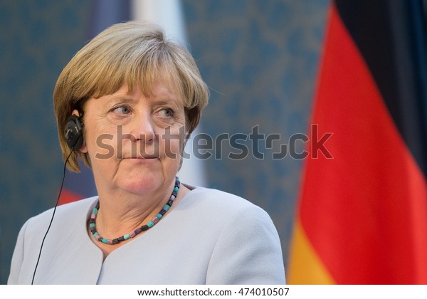 PRAGUE - AUGUST 25: German Chancellor Angela Merkel during her visit in Prague, Czech republic, August 25, 2016.