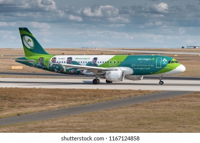 PRAGUE - AUGUST 26, 2018: AER LINGUS Airbus A320 at Vaclav Havel Airport Prague (PRG)  AUGUST 26, 2018 in Prague, Czech Republic. AER LINGUS is official airline of the Irish Rugby team.