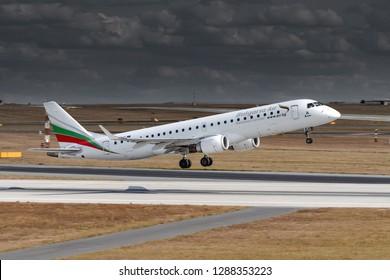 PRAGUE - AUGUST 26, 2018: Bulgaria Air Embraer ERJ 190-100 IGW at Vaclav Havel Airport Prague (PRG) AUGUST 26, 2018 in Prague, Czech Republic