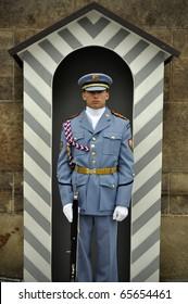 PRAGUE - AUGUST 31: Guard at Prague Castle, August 31, 2010 in Prague, Czech Republic
