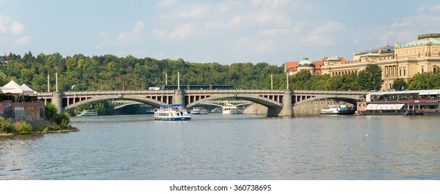 PRAGUE - AUGUST 4: Ferry on the river Vltava. The ship is the most romantic way and quickest way to see the city view from the river, there are departures every hour on august 4,2015 in Prague - Czech