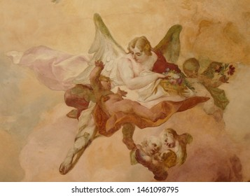 Prague, a beautiful painting with angels on the ceiling of the baroque church of St. Nicholas in the Lesser Town (Mala Strana) district; Prague, July 16, 2019, Czechia, Central Europe