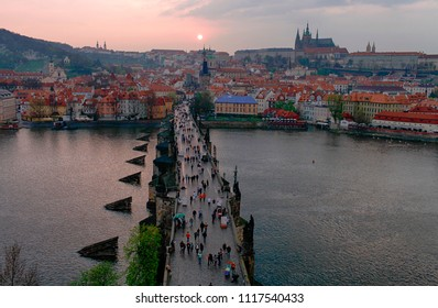 Prague. Beautiful view of the Charles Bridge and the city at sunset