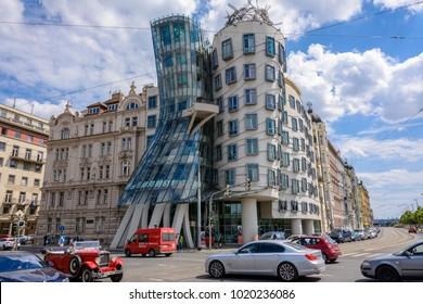 Prague, Bohemia, Czech Republic - June 5, 2017: Famous Dancing House in Prague, Czech Republic