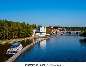 PRAGUE, BOHEMIA REGION, CZECH REPUBLIC - AUGUST 29, 2017: Vltava River.