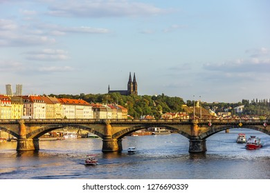Prague bridge and Vysehrad view, Czech Republic