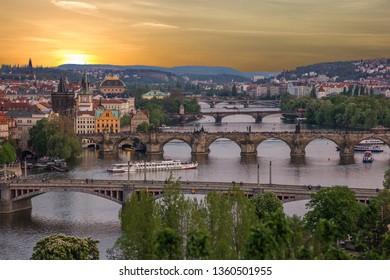 Prague bridges, city sunset panorama, Czech Republic