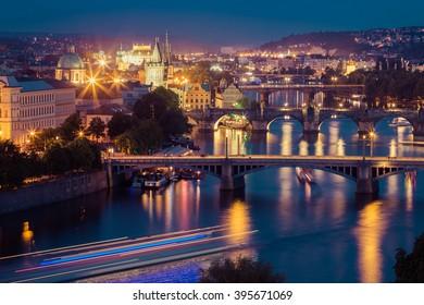 Prague bridges in the night, Prague, Czech Republic, Europe