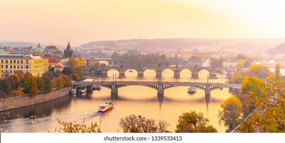 Prague bridges over Vltava River in the evening, Praha, Czech Republic.