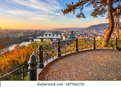 Prague Bridges over Vltava River in sunny autumn morning. View from Letna Gardens, Prague, Czech Republic - Shutterstock ID 1877661733