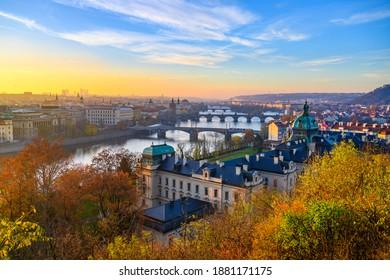 Prague Bridges over Vltava River in sunny autumn morning. View from Letna Gardens, Prague, Czech Republic - Shutterstock ID 1881171175